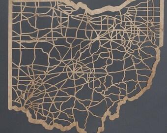 Ohio Shaped Wood Laser Cut Map
