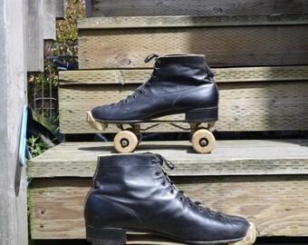 Roller skates vintage wooden wheels black leather half boot style mens size 12 roller disco quad skates roller derby dura stride rollers