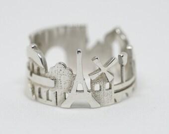 Paris Cityscape - Skyline Statement Ring Size 5 - 13