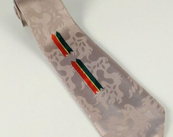 Vintage 40s/50s Mens Tie, Necktie, Gray, Burnt Orange, Green, Yellow, Double Arrow, Rayon, Label: Telos, Anniversary, Birthday, Gift For Him