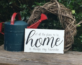 Home, home is best, rustic home sign, gather, farmhouse style, southern saying, home grows best, pantry, shelf, gift, love our home, kitchen