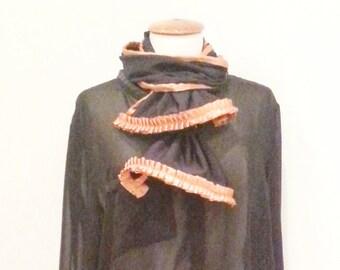 Black jersey scarf sale, womans black scarf, copper orange ribbon, womens black scarfs, black scarves, danish fashion, women's accessories
