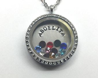 ABUELITA - Floating Charm Locket -Memory Locket - Custom Hand Stamped Gift for Abuela or Abuelita