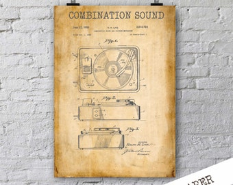 Combination Sound Patent Print| Gift for Musician| Studio Decor| Gift for DJ| Music Poster