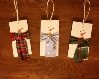 Set of 3 Snowman Wood Planks with Scarves Ornaments