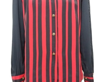 Vintage Sheer Blouse in Red & Black Stripes with Gold Buttons - Size M - 1990s - Excellent Condition - Free Postage