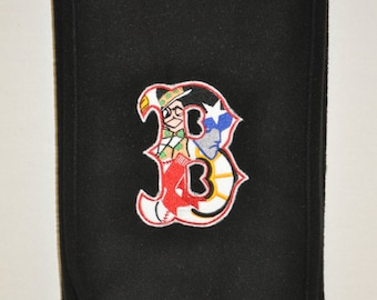 Embroidered Boston Sports B Black Fleece Scarf, Red Sox, Celtics, Bruins, Patriots