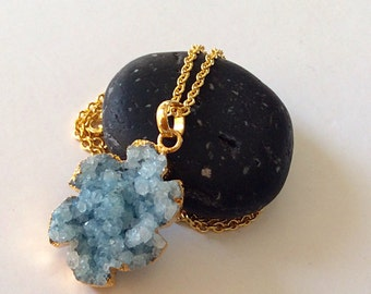 Blue druzy necklace/ One of a kind druzy necklace/ Large druzy necklace/ Gold vermeil necklace/ Gift  for her
