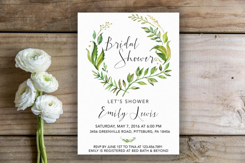 Wedding Shower Invitation: Botanical Bridal Shower Invite Tropical Bridal Shower