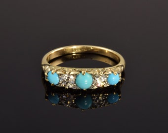 Antique turquoise and diamond ring, circa 1900.