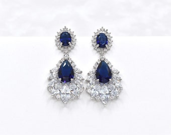 Sapphire Blue Wedding Earrings Cubic Zirconia Chandeliers Earrings Bridal Earrings Crystal CZ Wedding Earrings