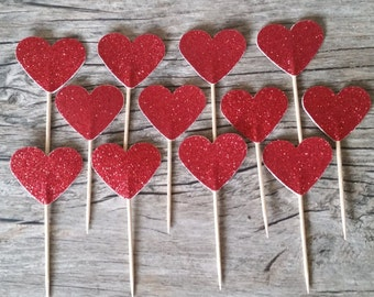 12 Red Heart Cupcake Toppers