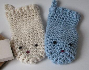 Washcloths baby/organic cotton bath mitts