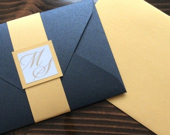 1920s, Great Gatsby, Art Deco, Wedding Invitation Set, Gold and Black, Pocket Envelope