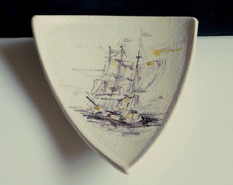Handpainted ceramic plate, signed by the artist, from the fifties, sailing ship, decorative triangular shape