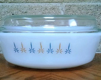 Anchor Hocking Fire King Candle Glow Casserole Dish With Lid - Oval  Milk Glass 1 1/2 Quarts  1960s Vintage  443