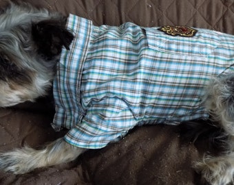 Dog Clothing//Clothes for Dogs//Dog Shirt//Ready to Ship//Shirt for Dogs//Size SMALL for Dogs//FREE SHIPPING//Green & Brown Plaid// Upcycled