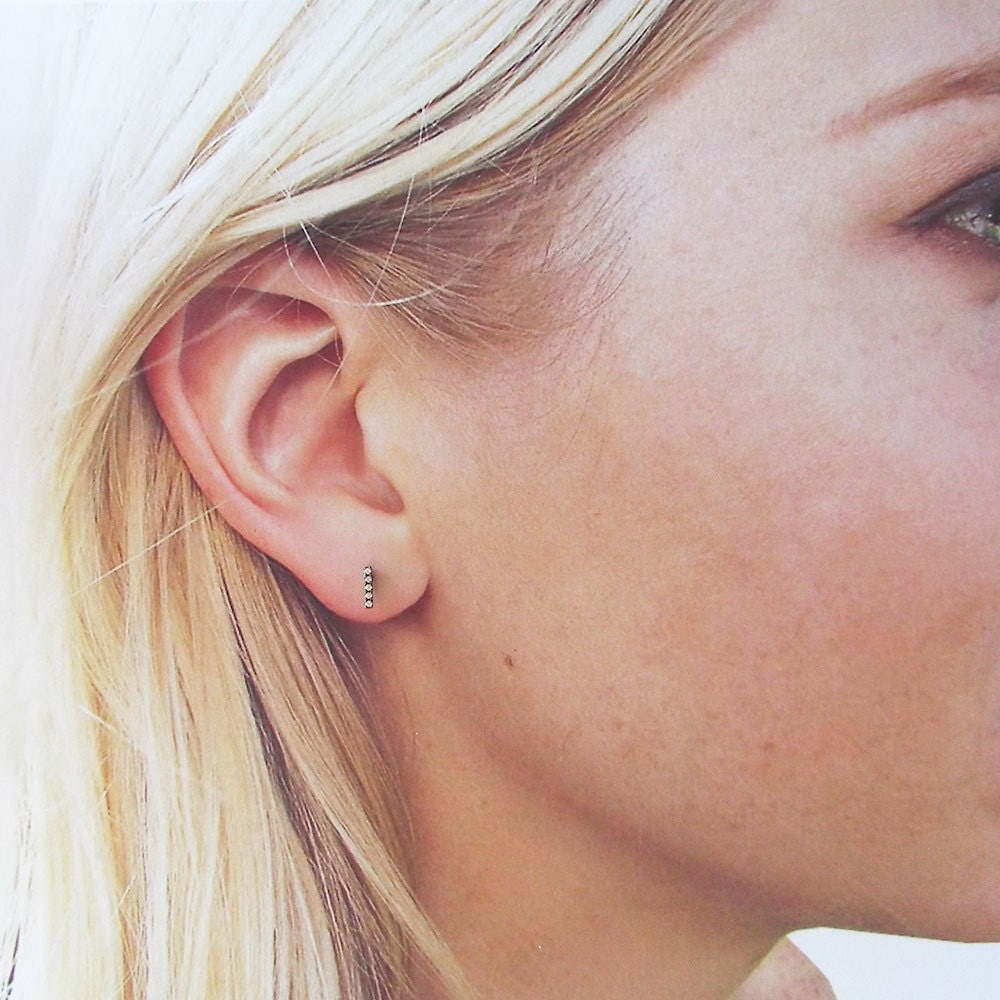 Black Tiny CZ Bar Earrings, Black Gold plated micro pave cz Diamond Earrings, Everday dainty earrings, Diamond Bar Studs