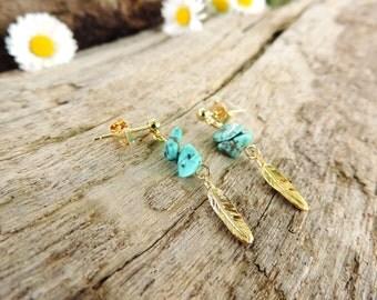 Feather Earrings, bohemian earrings, turquoise, blue, gold, gypsy, minimalist