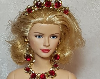 Red on gold jewelry for Silkstone and other fashion dolls