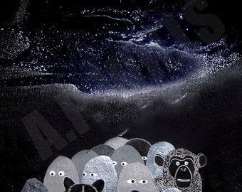 Monkey Illustration, Bear Illustration, Lowbrow Art Print, Illustration, Print, Small Print
