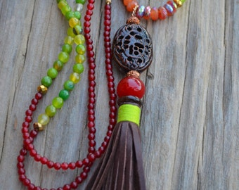 Boho Tassel Necklace, Leather and Bone Tassel Necklace, Mystique Sunstone and Onyx, Chartreuse Color Agates, Jewelry