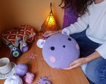 Crochet Bear cushion for children handmade