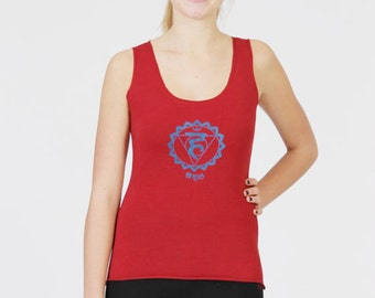 Women's Chakra Tank Top - Yoga Vishuddha Burgundy Scoop Neck Fitted Top - Stretch Cotton ,Slim Fit Activewear Garment.