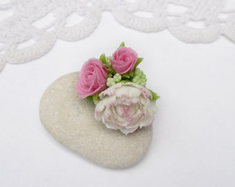 Pink ring flower ring Pastel jewelry Pastel ring Delicate ring Polymer clay jewelry Shabby chic jewelry Polymer clay ring Romantic ring