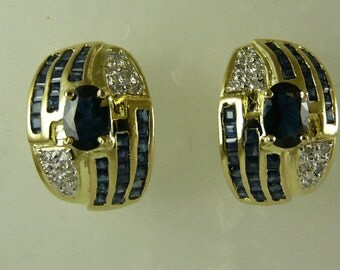 Sapphire 4.5ct Earring with 14k Yellow Gold and Diamonds 0.13ct