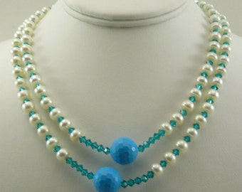 Freshwater White, Blue Beads and Austrian Crystal Necklace and Bracelet, Silver Lock