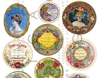 French Art Nouveau Labels Perfume & Soap. Vintage Vanity Labels Digital Download. Antique Perfume Labels Round Oval Collage Sheet.