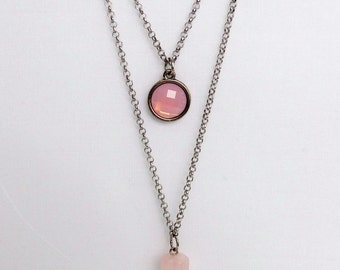 Necklace with two chains, with pendulum pendant rose quartz and opal crystal pendant pink metal.