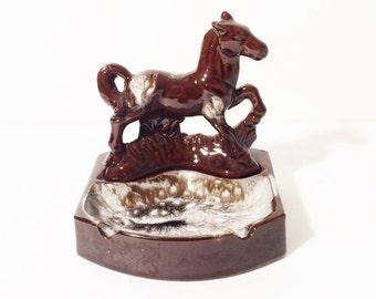 Vintage Horse Ashtray, 1960 Ashtray, Western Ashtray, Brown Pottery Ashtray, Horse Lover Gift