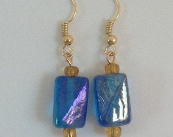Blue glass gold earrings, blue dangle earrings, gold dangle earrings, gold earrings, blue glass earrings, blue and yellow earrings
