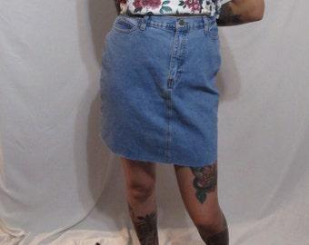 Reworked Vintage High Waisted Denim Skirt