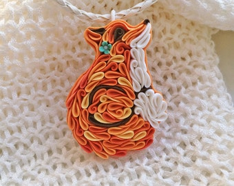 Fox pendant fox jewelry polymer clay fox little fox necklace red orange fox cute little fox curled up animal forest animal jewelry