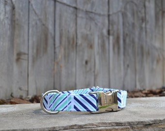 Green and Blue Abstract Stripped Dog Collar