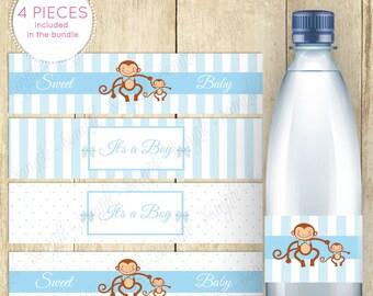 Monkey Baby Shower Water Bottle Labels Printable - Monkey Themed Baby Shower Water Bottle Labels - Instant Download - It's a Boy