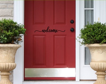welcome decal - front door decal - vinyl decal - wall decal - entry way decor -