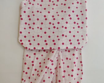 Baby girl outfit, pants and tunic, handmade, cotton, 18-24 mos, reversible top, matching pants, pink and white, elasticated waist and ankles