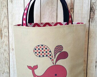 Preppy tote bag, Back to school tote,Kindergarten tote bag, Whale tote,Pink and Navy tote bag, Personalized School bag