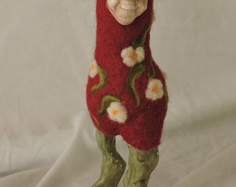 Unique Red and Green Felted Bird with Glasses, Decorative Needle Felted Animal w/a Clay Mask for your Home Décor, Collectable Felted Figures
