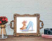 Cinderella, Print, Digital, Glass Slipper, Cartoon, Gus Gus In Slipper