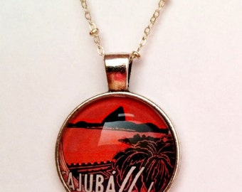 Vintage Aruba Travel Poster Necklace, Island Jewelry, Caribbean Jewelry, Bronze or Silver