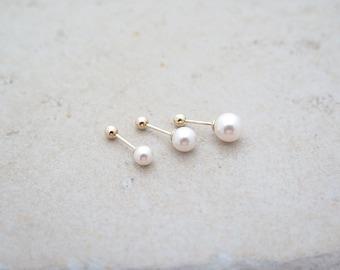 10K 14K Gold pearl piercing/Pearl Piercing/Helix piercing/cartilage /Tragus piercing /Delicate ear piercing/Daith piercing/Conch piercing