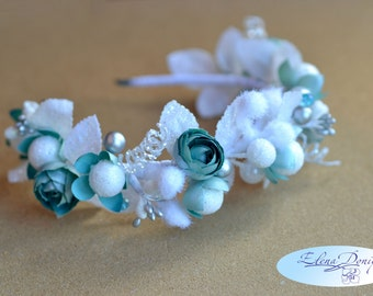 Turquoise Winter Bridal crown Snow Queen hair wreath flower headband Christmas flower crown White Christmas crown Winter wedding headpiece