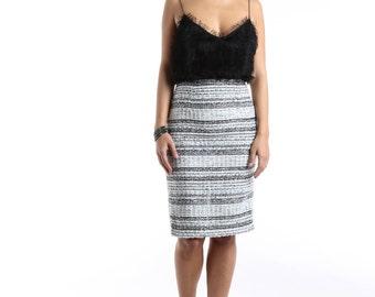Dress DRESS dress-dress-broken effect-black and white-rhinestone