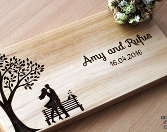 Wedding cutting board Couple cutting board Wood cutting board personalized Custom Cutting Board  Bridal shower gift Gift for couple Love