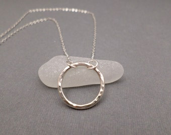 Eternity Circle Necklace. Free Shipping. Sterling Silver Circle Necklace. Hammered Open Circle. Simple Everyday. Dainty Delicate. 3/4""